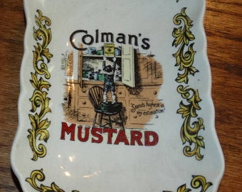 Collector Plate, Colman's Mustard vintage ad plate Lord Nelson Pottery, Trivet, Spoon Rest, Folk Art, Country Decor, Handcrafted