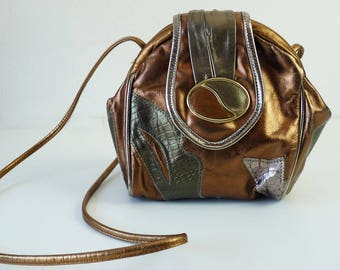 VIntage Leather Purse | Metallic Patchwork Crossbody Small Shoulder Bag Clutch 90s 1990s Bubble Bag