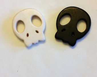 Large Howlite Flat Skull Beads Set of 2 Black & White