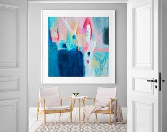 Large Abstract giclee print, Blue, colorful modern abstract painting print, large giclee art print, print of an original acrylic painting