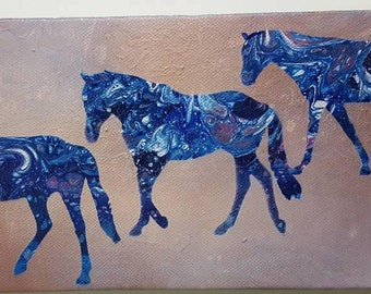 Abstract horses, walking horses, horse painting, horse artwork, poured painting, equine art, horse silhouette, 3 horses, horse lover gift