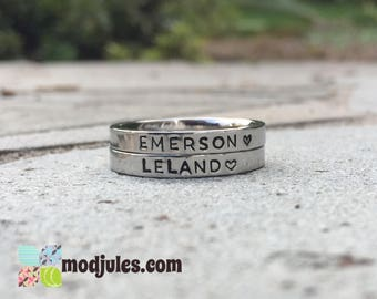 Stacking Rings, Personalized Name Ring, Custom Hand Stamped Stainless Steel Ring, Initials Ring, Monogram Ring, Mom Ring,
