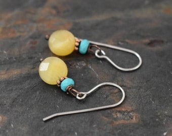 Sale- Turquoise and Golden Tiger eye Earrings