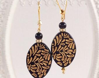 Boho Jewelry - Black - Statement Earrings - Dangle - RETRO BOHO Black