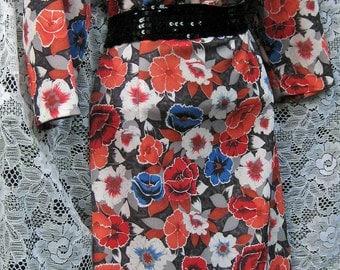 3x to 4x dress Pumpkin Orange Autumn Flowers dress, Ascot Tie dress, Romantic secretary dress