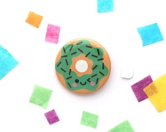 Mint Green Donut Badge, Junk Food Gift, 38mm Button Badge, Coat Pin, Bag Brooch