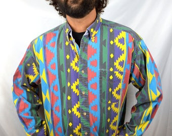 Vintage 90s Tommy Hilfiger Button Up Southwest Rainbow Shirt
