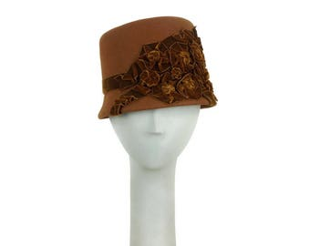 Brown Cloche Hat 1920s, Felt Hat, Small Size Hat, Winter Hat, Vintage Hat Style, Wedding Hat, Church Hat, Dress Hat, Handmade Hat, Millinery