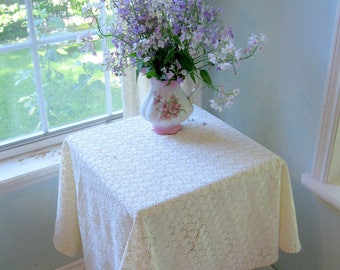 Round Small Eyelet Tablecloth, Eyelet, Tablecloth, French Country, Cream, Cottage Charm, by mailordervintage on etsy