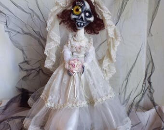 Halloween Bride Doll Handmade OOAK Folkart Decor