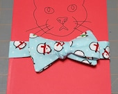 Cat Bow Tie - Light Blue with Penguins