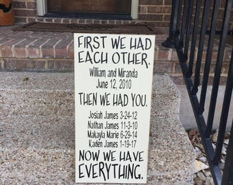 First We Had Each Other Custom Wood Sign ~ Our Love Story ~ Special Date Sign ~ Important Dates Sign ~ Wood Anniversary Gift ~ Couples Sign