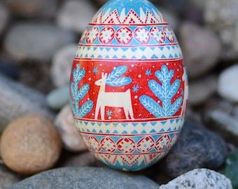 Sale Christmas Reindeer Goose Egg Pysanka hand painted artsy ornaments