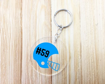 Football Key Chain Personalized Football Helmet Key Chain Custom Key Chain Football Player Key Chain