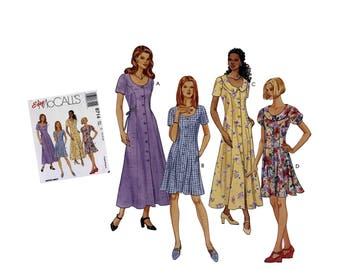 Vintage 90's Easy McCall's 8714 Sewing Pattern Misses Dress Pattern Misses Size 10 12 14 Uncut Pattern DIY Fashion 1997 Semi Fitted Dress