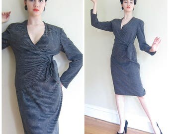 Vintage 1980s Giorgio Armani Collezioni Dress / 80s Long Sleeved Designer Dress Micro Polka-Dot Print Tie Sash Wrap Style / Medium