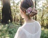 summer rose bouquet hair clip - creamy pink // bridesmaid hair accessory, wedding hair pin, wedding flower rose blossom floral headpiece