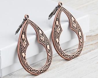 Antiqued Copper Plated Large Keyhole Teardrop Earrings on Gunmetal Hooks