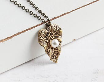 Small Antiqued Brass Leaf Pendant Necklace with Custom Pearl Color