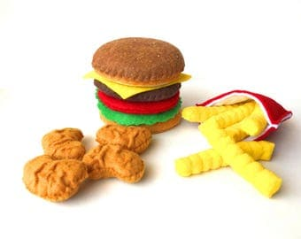 Felt Food Hamburger, french fries & chicken nuggets set eco friendly children's pretend play food for toy kitchen, felt hamburger, felt bbq