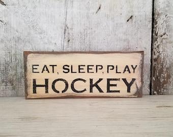 Hockey Sign Tis the Season Rustic Hockey Sign Hockey