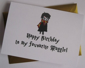 HARRY POTTER birthday card funny sweet cute muggle HP best friend boyfriend mum mother mam husband