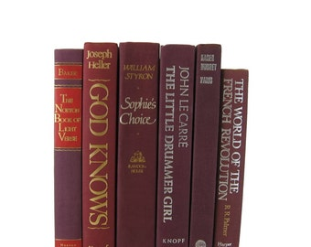 Shades of Maroon  Red  Decorative Books , Vintage Books , Home Decor , Old Books , , Table Setting , Wedding Decor