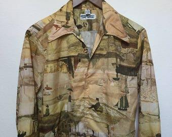 Vintage art print Seurat shirt, 1970s disco shirt, 70s polyester long sleeve butterfly collar shirt vtg, Pointillism art, Spire men M medium
