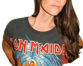 Vintage IRON MAIDEN Shirt 1990s All over print Eddie Concert shirt Band tee Iron Maiden shirt Black Sabbath Concert Tee Band Tee Metal Xl