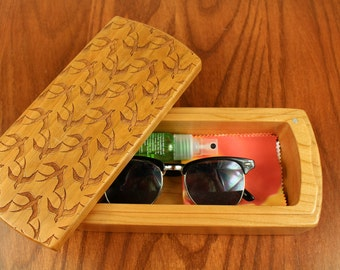 """Wooden Storage Box, Swallows, Bird Patterned 8-1/2"""" long x 3-7/8""""wide x 2-3/8"""" deep, Solid Cherry, laser engraved, Paul Szewc"""
