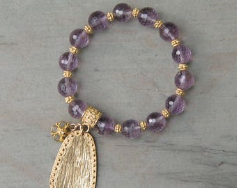 Amethyst and Gold Bracelet - Sterling Silver