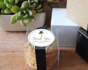 12 - Tropical Wedding Favor Boxes - Vintage Palm Label Design | Tropical Bridal Shower Favors | Personalized Favor Box | Palm Tree labels