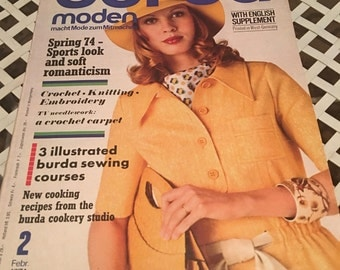 Burda Moden Magazine Vintage February 1974 sewing patterns with English and German Instructions