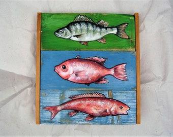 fish painting, green blue red decor, kitchen art, wall art