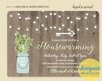 Mason Jar House Warming Party Invitation, rustic housewarming invite with skeleton key, printable or printed, open house, you choose flower