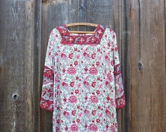 Vintage Indian Block Print Dress / Boho Indian Cotton Dress / Hippie Dress