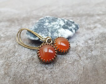 Orange Carnelian Earrings - Genuine Natural Gemstone Cabochon Antiqued Bronze Leverback Ear Wires, jingsbeadingworld inspired by nature