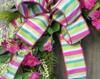 Wreath Bow, Spring Summer Wreath bow, Pink Green Wreath Bow, Lantern Bow, Bow Decoration, Spring Wreath Bow, Green and Pink Stripe bow