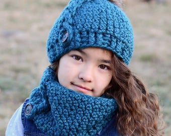 CROCHET PATTERN - Big Braid Beanie & Cowl - bulky crochet hat pattern + cowl pattern (Baby Toddler Child Adult sizes) - Instant PDF Download