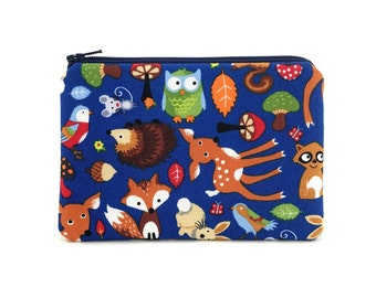 Small Zipper Pouch - Coin Purse - Woodland Animals Bag - Change Purse - Zipper Wallet - Card Pouch - Animal Pouch - Padded Pouch