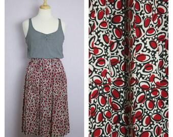 Vintage 1980's Red Circle Pleated Midi Skirt M