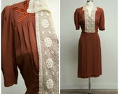 Vintage 1930s Dress • Found You • Rust Red Rayon Late 30s Dress with Lace Collar Size Medium Large