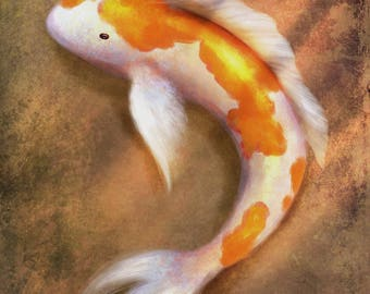 CANVAS PRINT 24x30: Fine Art Giclée, Koi Fish Painting, Koi Pond, Gold Fish, Japanese Art, Asian Artwork, Chinese Painting