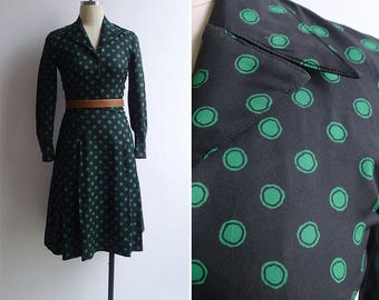 10-25% OFF Code In Shop - Vintage 70's Green Polka Dot Fit & Flare Black Dress XXS or XS