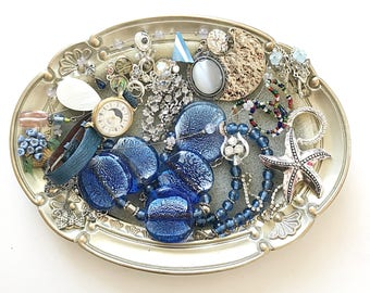 GORGEOUS vintage DeStash Lot! Awesome Price!! Costume jewelry lot, salvage, supply lot, bead lot, up cycle, repair, repurpose LOT B9