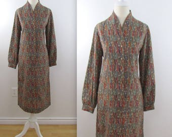 Lanvin Dress - Vintage 1970s Lanvin Printed Shift Dress in Medium Large