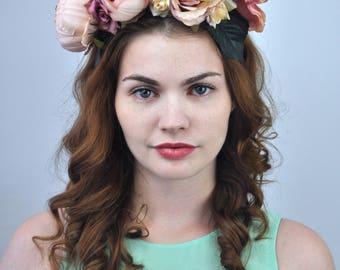 Eva - Blush Bridal Flower Crown   Blush Flower Headpiece   Flower Headband   Bridal Headband   Blush Wedding   Boho Peony Flower Crown
