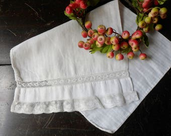Lacy White Baby Pillow Sham, Baby's Pillow Cover with Bobbin Lace