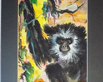 Monkey Business, Original Matted Watercolor