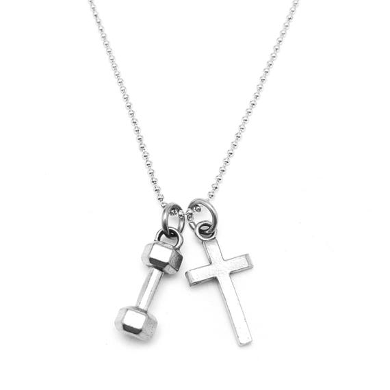 Faith and Fitness Mini Dumbbell Necklace and Cross - CrossFit - Gym Jewelry - Workout Necklace - Strength and Fitness - Personal Trainer